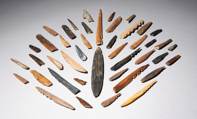 Spitsen die door de bewoners van Doggerland werden gemaakt, zo'n 11.000 jaar geleden.