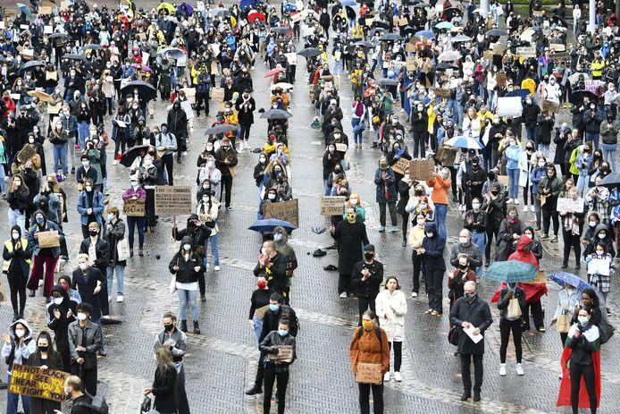 Het protest in Arnhem.