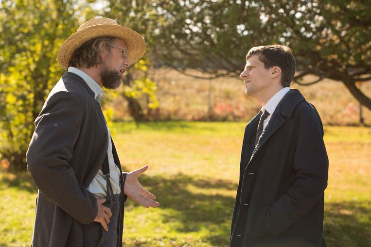 Johan Heldenbergh met Jesse Eisenberg in 'The Hummingbird Project'. De twee werden goeie vrienden.