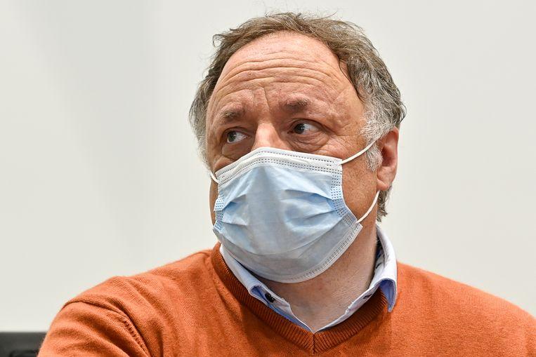 Viroloog Marc Van Ranst woensdag in een hoorzitting in de bijzondere Covid-commissie van de Kamer. Beeld BELGA