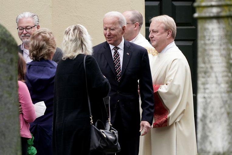 President Biden na een kerkdienst in Wilmington, Delaware.  Beeld Reuters
