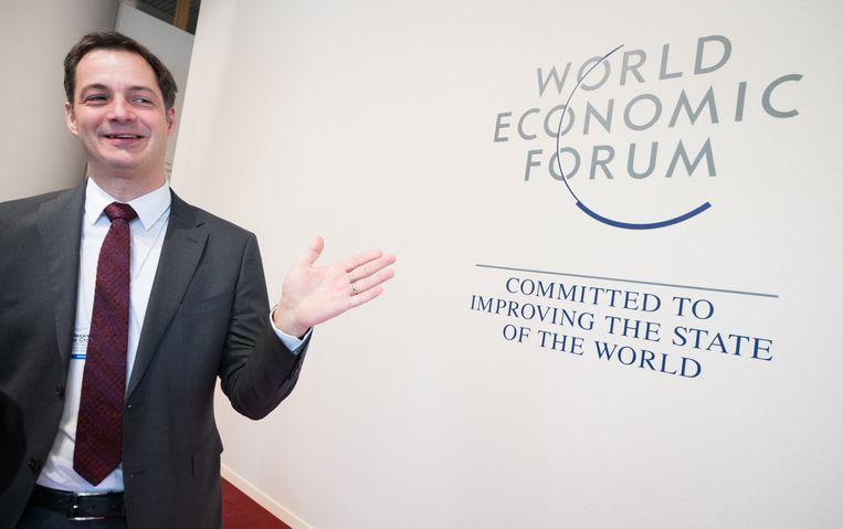Alexander De Croo vorig jaar in Davos. Beeld BELGA
