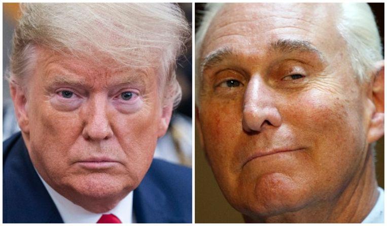 De Amerikaanse president Donald Trump (links) en Roger Stone. Beeld Photo News, Reuters