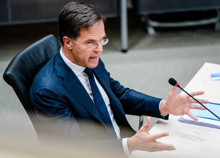 Premier Mark Rutte tijdens het verhoor door de parlementaire enquêtecommissie Kinderopvangtoeslag, op de laatste dag van de hoorzittingen. Beeld ANP