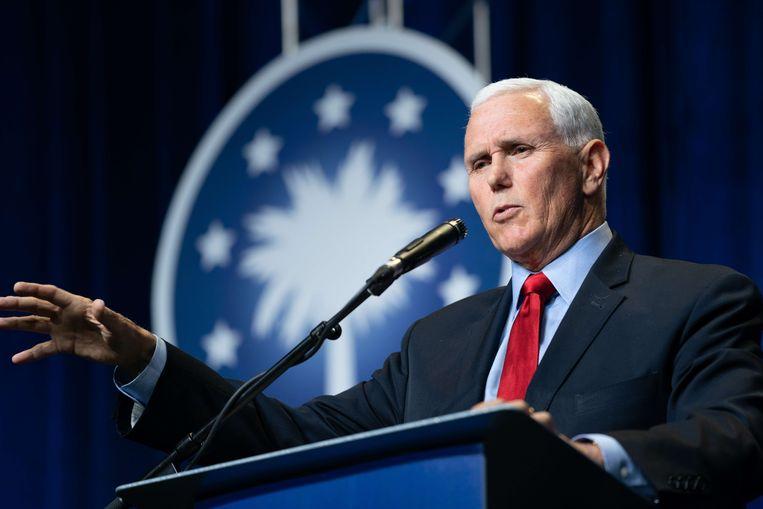 Oud-vicepresident van de VS Mike Pence tijdens zijn eerste openbare toespraak sinds het aflopen van zijn vicepresidentschap. Beeld AFP