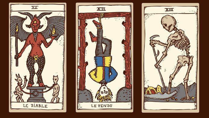 Voorbeelden van tarotkaarten