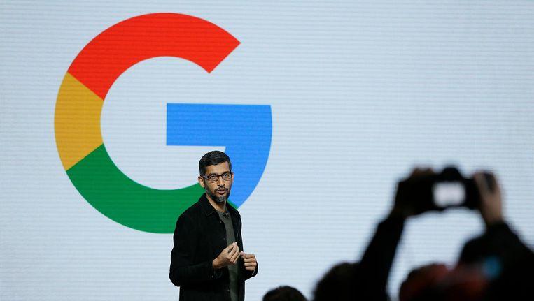Google CEO Sundar Pichai spreekt tijdens een productpresentatie eerder deze maand. Beeld epa