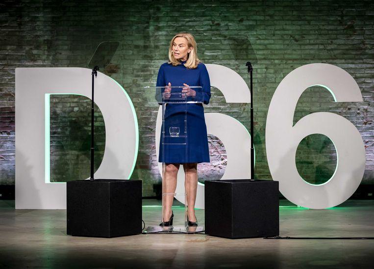 Lijsttrekker Sigrid Kaag tijdens het partijcongres van D66. De bijeenkomst wordt grotendeels online gehouden, vanwege de maatregelen rondom het coronavirus.  Beeld ANP