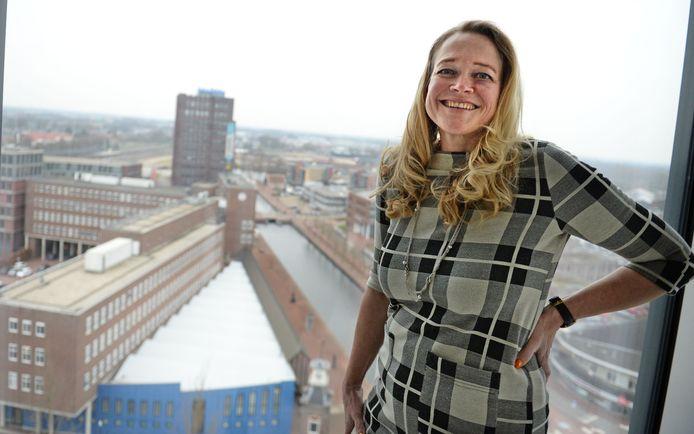 Edith van den Ham, eerder dit jaar gefotografeerd op het dak van het stadhuis.