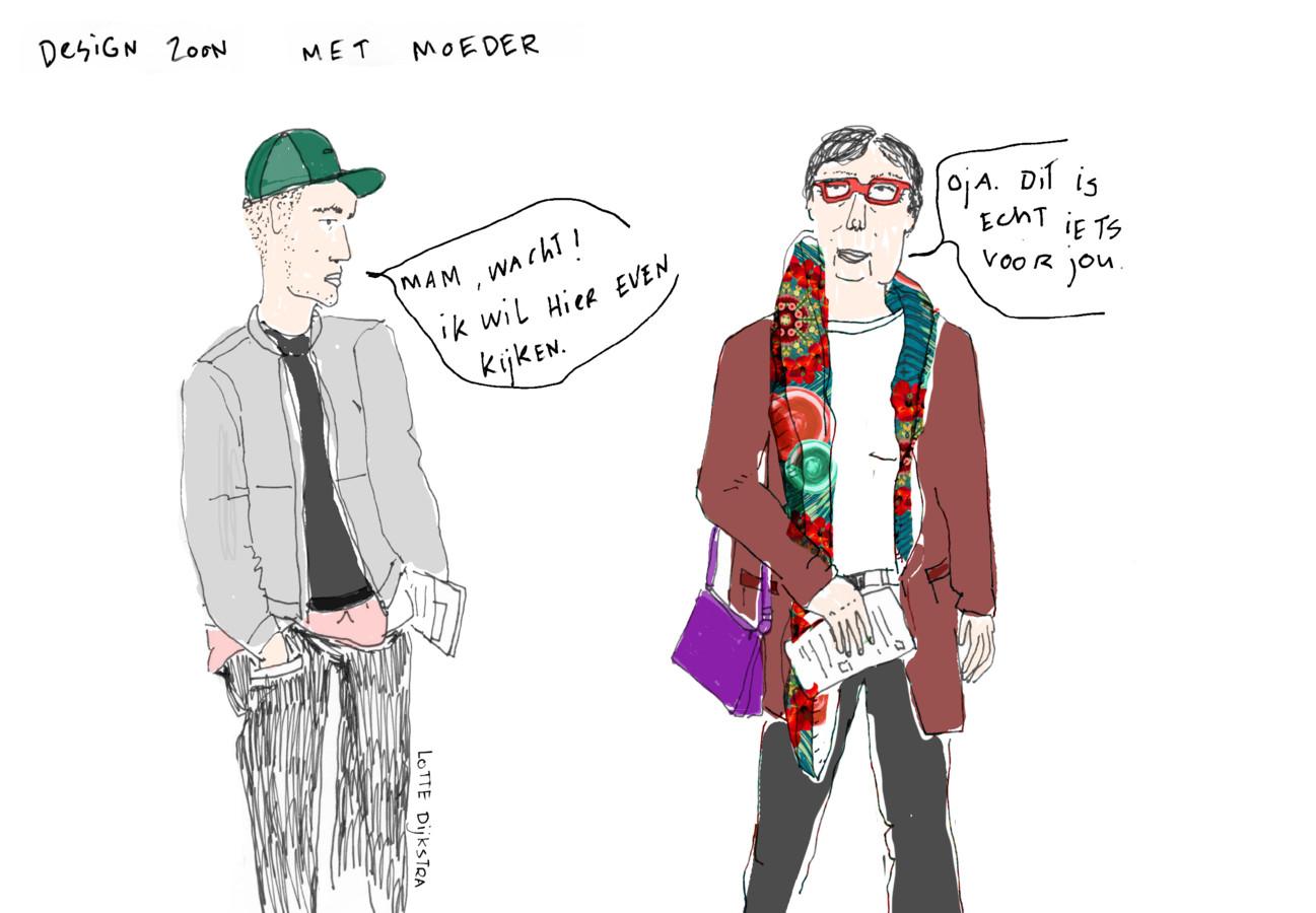 Lotte Dijkstra van Drawing the Times tekende deze Design zoon met moeder