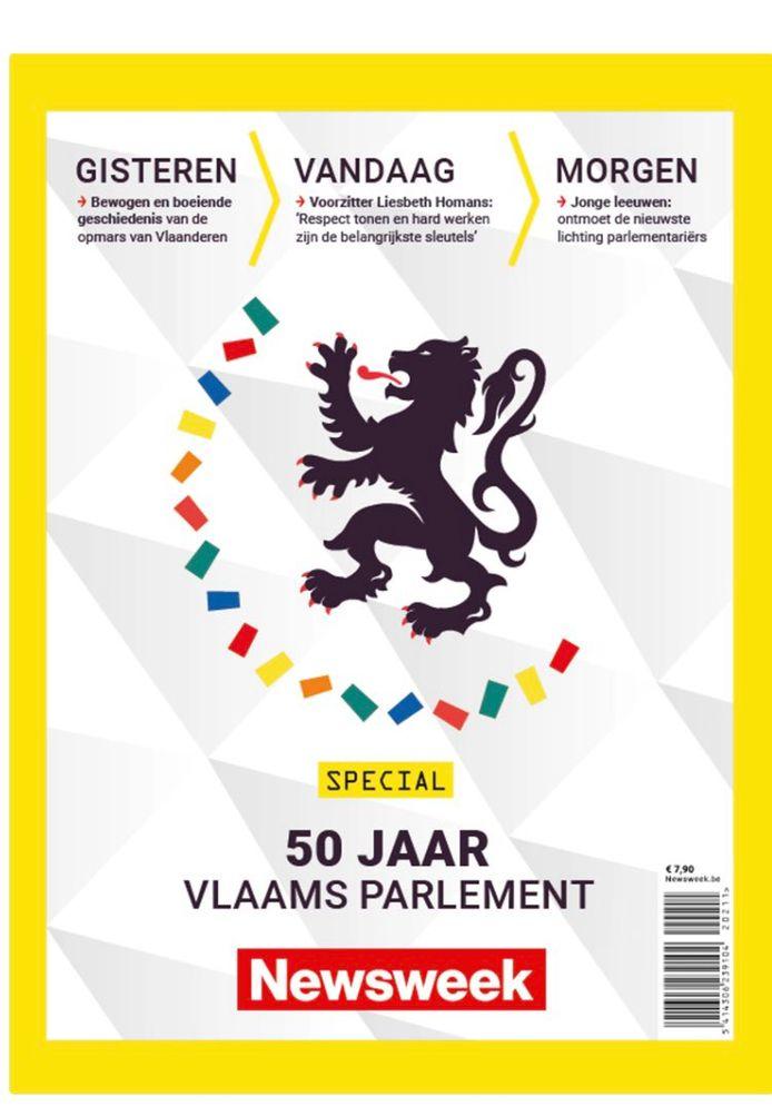 Édition spéciale de Newsweek consacrée entièrement au jubilé du Parlement flamand et doté de récits historiques détaillés sur l'avènement du combat flamand jusqu'à la création de l'actuel Parlement flamand