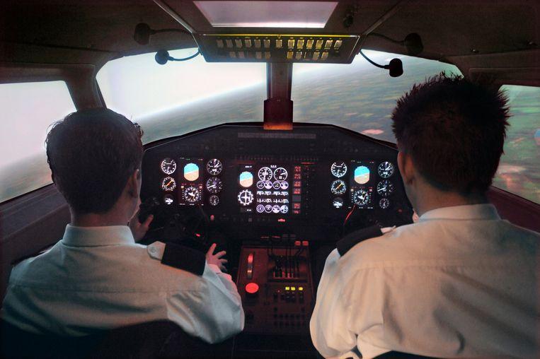 Studenten in 2009 aan het inmiddels failliete Stella Aviation Academy. Beeld Hollandse Hoogte / Flip Franssen