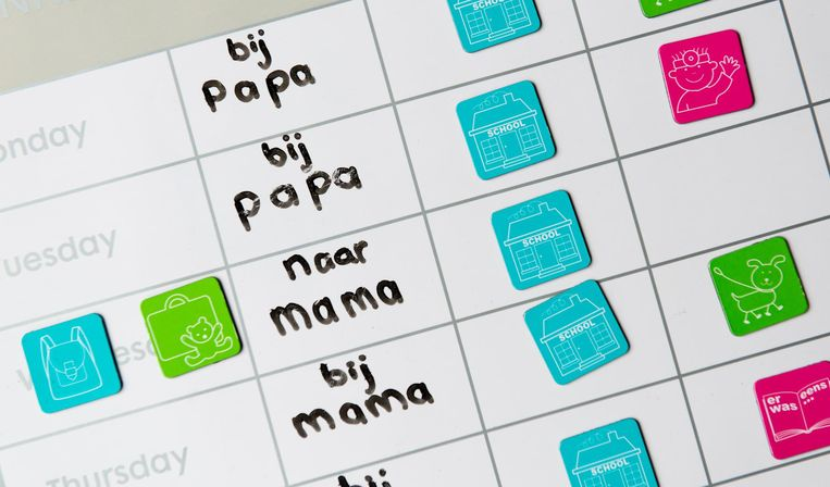 De kalender van een kind met gescheiden ouders, met de dagen waarop hij bij de vader of moeder is. Beeld ANP