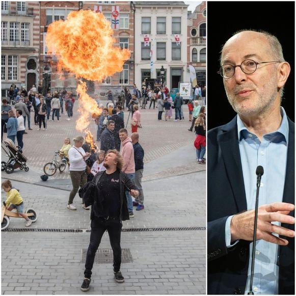 """Op de Grote Markt in Dendermonde kwamen zondagnamiddag heel wat mensen samen om de afgelaste Rosbeiaardommegang te vieren. Epidemioloog Pierre Van Damme uitte zijn ongerustheid daarover: """"Dit is een samenscholing, ik had liever gezien dat iedereen een mondmasker droeg"""""""
