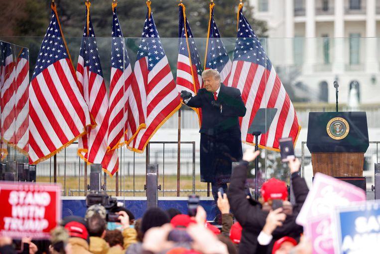Donald Trump tijdens zijn speech in Washington op 6 januari, kort voordat de bestorming van het Capitool plaatsvond. Beeld REUTERS