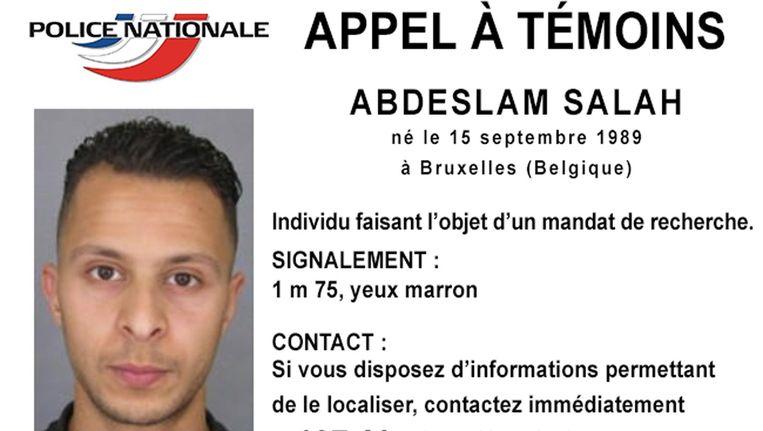 Opsporingsbericht van de Franse politie voor terreurverdachte Salah Abdeslam Beeld null