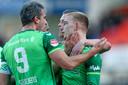 Jasper van Heertum (r) was afgelopen weekend de gevierde man met twee doelpunten tegen FC Volendam