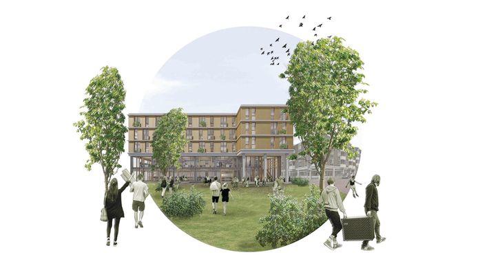 Impressie van de nieuwbouw in het Coehoorngebied in Arnhem, hier gezien vanuit het Coehoorn Park, ontworpen door Hoogte 2 Architecten.