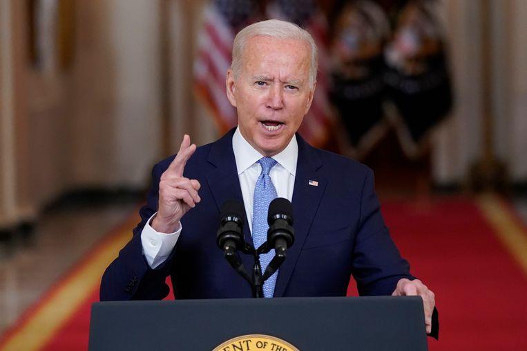 Dinsdag gaf Biden een toespraak vanuit het Witte Huis.  Beeld AP