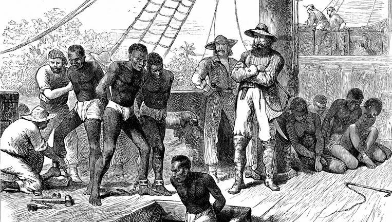 Illustratie van slaven op een transportschip. Beeld thinkstock