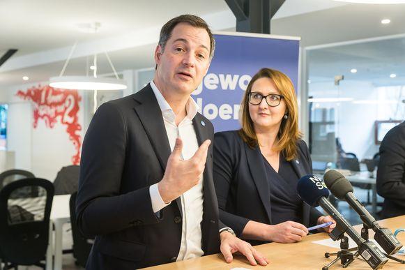Alexander De Croo en Gwendolyn Rutten stelden hun sociaal-economisch verkiezingsprogramma gisteren samen voor.