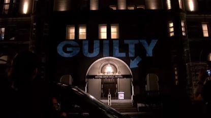 'Guilty criminal' geprojecteerd op Trumphotel