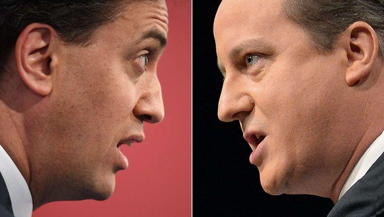 Leider van de Labour Party Ed Miliband en huidig Brits premier David Cameron. Beeld AFP