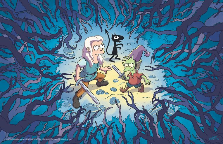 Prinses Bean, Luci het demoontje en Elfo de elf: klaar om Dreamland te gaan verkennen in 'Disenchantment'.. Beeld Netflix