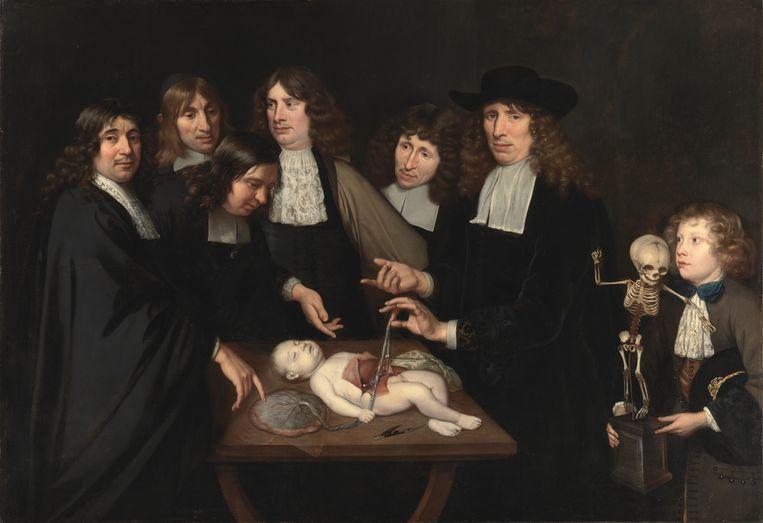 Jan van Neck, De anatomische les van Dr. Frederik Ruysch, 1683, olieverf op doek, 141 x 203 cm, Amsterdam Museum (te zien in de portrettenvleugel van het museum in de Hermitage Amsterdam). Beeld Amsterdam Museum