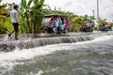 Een overstroming in Bangladesh.