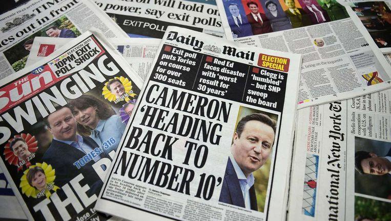 De voorpagina's van de Britse kranten vandaag. Beeld ANP