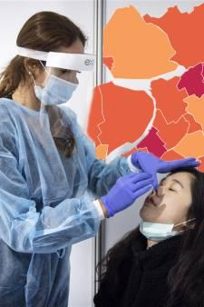 KAART   Aantal nieuwe positieve coronatests iets gedaald in Oost-Nederland
