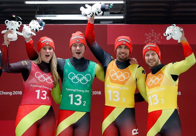 Van l naar r: Natalie Geisenberger, Johannes Ludwig, Tobias Wendl en Tobias Arlt.