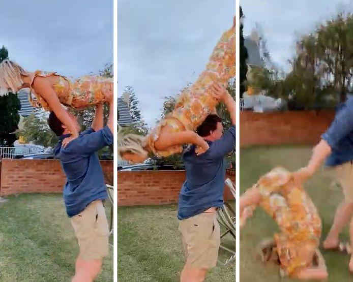 """Cette danseuse professionnelle a atterri sur son cou alors qu'elle tentait de recréer une scène culte du film """"Dirty Dancing"""" avec son petit ami."""