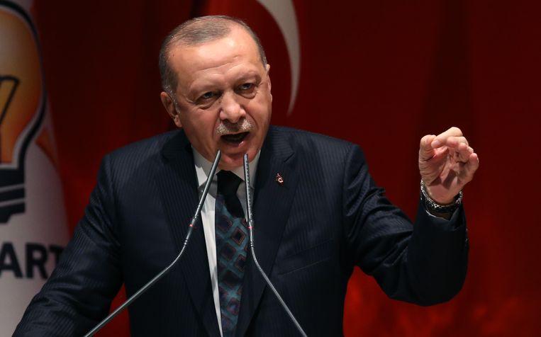 President Recep Tayyip Erdogan tijdens een speech. Beeld Str/EPA