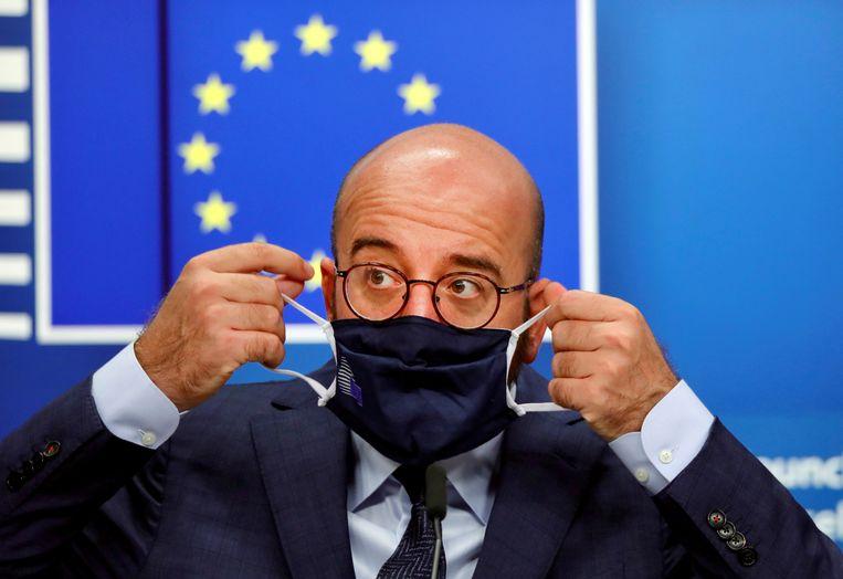 President Charles Michel van de Europese Unie vindt dat Europese landen de handen ineen moeten slaan om de coronapandemie onder controle te krijgen. Beeld REUTERS