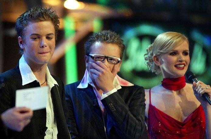 Jim, Jamai en presentatrice Tooske Ragas tijdens de eerste editie van Idols in 2003.