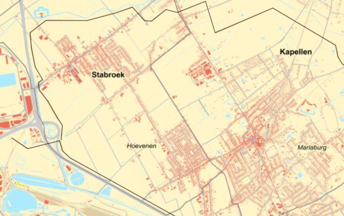Potentiële pijpleidingtracés in Stabroek. Boven: noordelijk tracé; onder: zuidelijk/gecombineerd centraal tracé