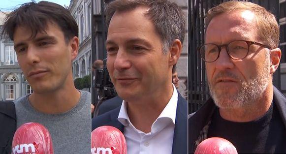 Conner Rousseau (sp.a), Alexander De Croo (Open Vld) en Paul Magnette (PS) na afloop van de superkern.