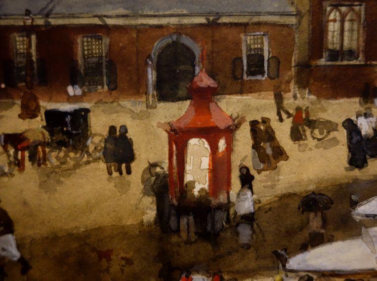 De rode kiosk in een aquarel van Breitner uit 1901 Beeld Rijksmuseum Amsterdam
