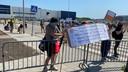 De demonstranten bij Vion in Boxtel.