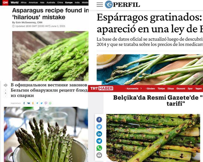 Onder meer een Amerikaanse (linksboven), Argentijnse (rechtsboven), Russische (linksonder) en Turkse (rechtsonder) nieuwssite berichten over de fout in het Belgisch Staatsblad.