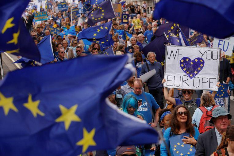Archieffoto. September 2016. Brexit-tegenstanders komen massaal op straat in Londen. Beeld REUTERS