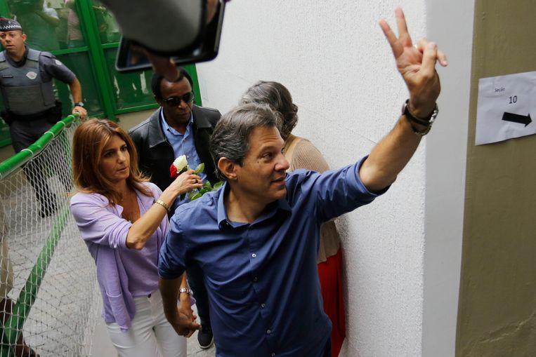 Fernando Haddad, de grootste concurrent van Bolsonaro. Beeld AP