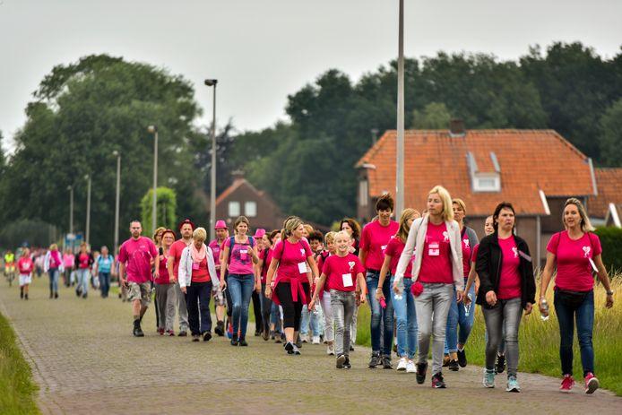 Deelnemers aan een van de vorige wandeltochten voor Pink Ribbon. De tocht heette toen nog de Durea Wandeltocht.