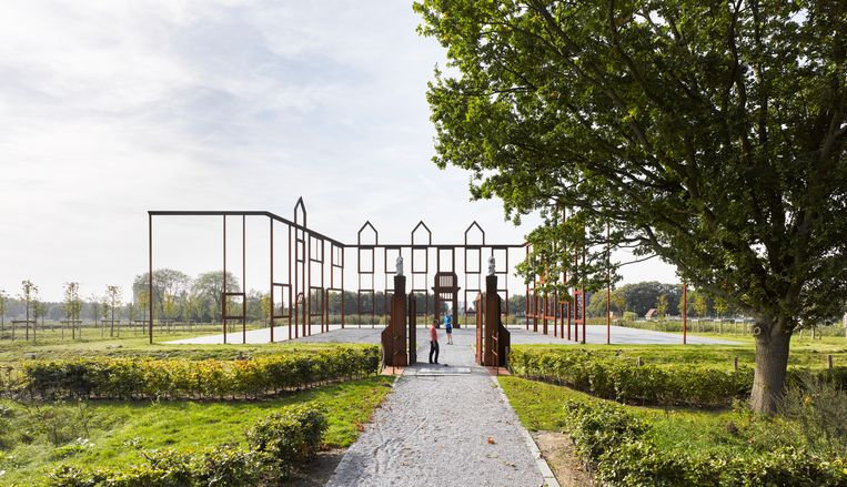 De entree van landschapspark Moerenburg is een impressie van Huize Moerenburg, een van de eerste stenen huizen in Tilburg. Beeld MTD landschapsarchitecten