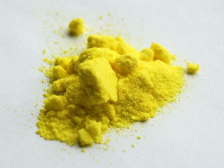 Kaliumchromaat, in de volksmond chroomgeel pigment. Beeld