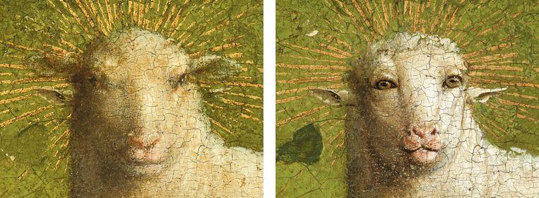 Het nieuwe Lam Gods (rechts) is een weinig natuurlijk lam. Beeld Sint-Baafskathedraal Gent © Lukasweb.be-Art in Flanders vzw, foto KIK-IRPA