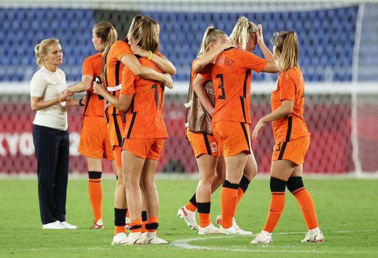 De Nederlandse voetbalvrouwen verloren na strafschoppen van de Verenigde Staten. Beeld Reuters