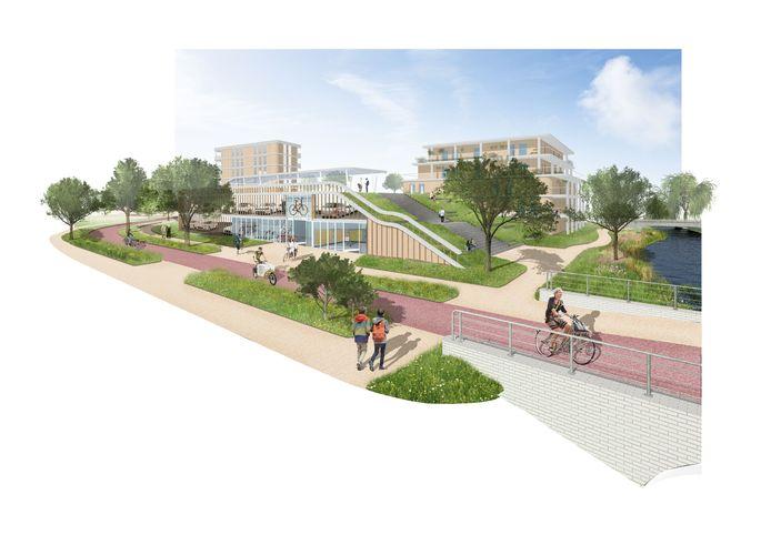 Een tekening van de nieuwe Zwolse woonwijk De Tippe.